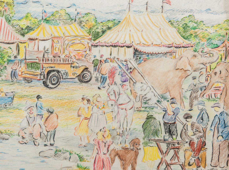Lot 224: Reynolds Beal, Impressionist Circus Drawing