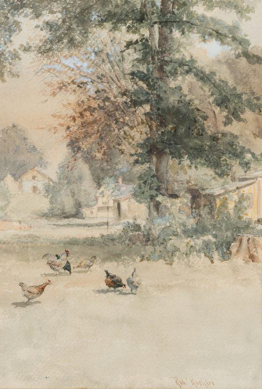 Lot 225: Robert Koehler Watercolor, Farm Yard