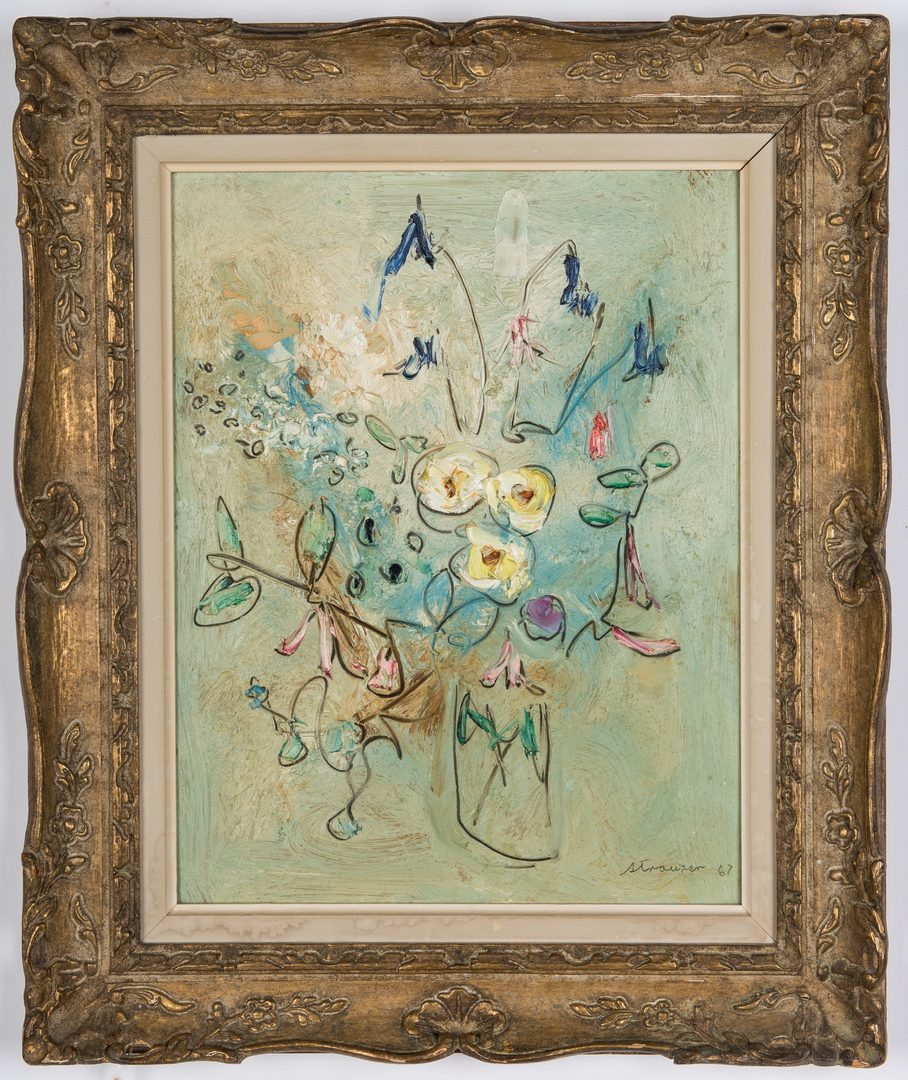 Lot 228: Sterling Strauser O/B, Still Life Floral Painting