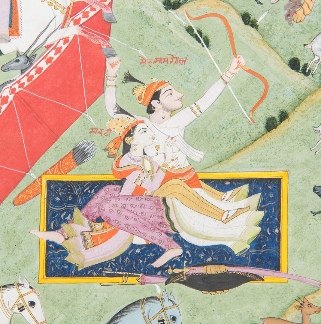 Lot 236: Kangra School Indian Hunting Scene Painting
