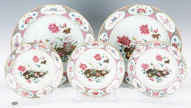 Lot 23: 5 Chinese Export Famille Rose Porcelain Pieces