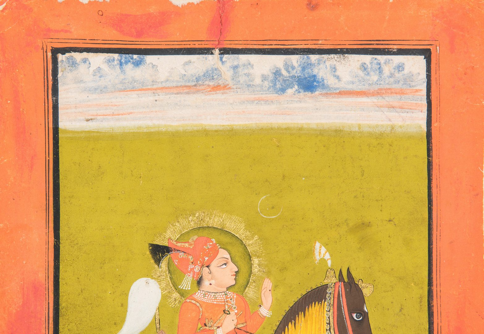 Lot 240: Deogarh School Portrait of Woman on Horse, Lucknow Raja