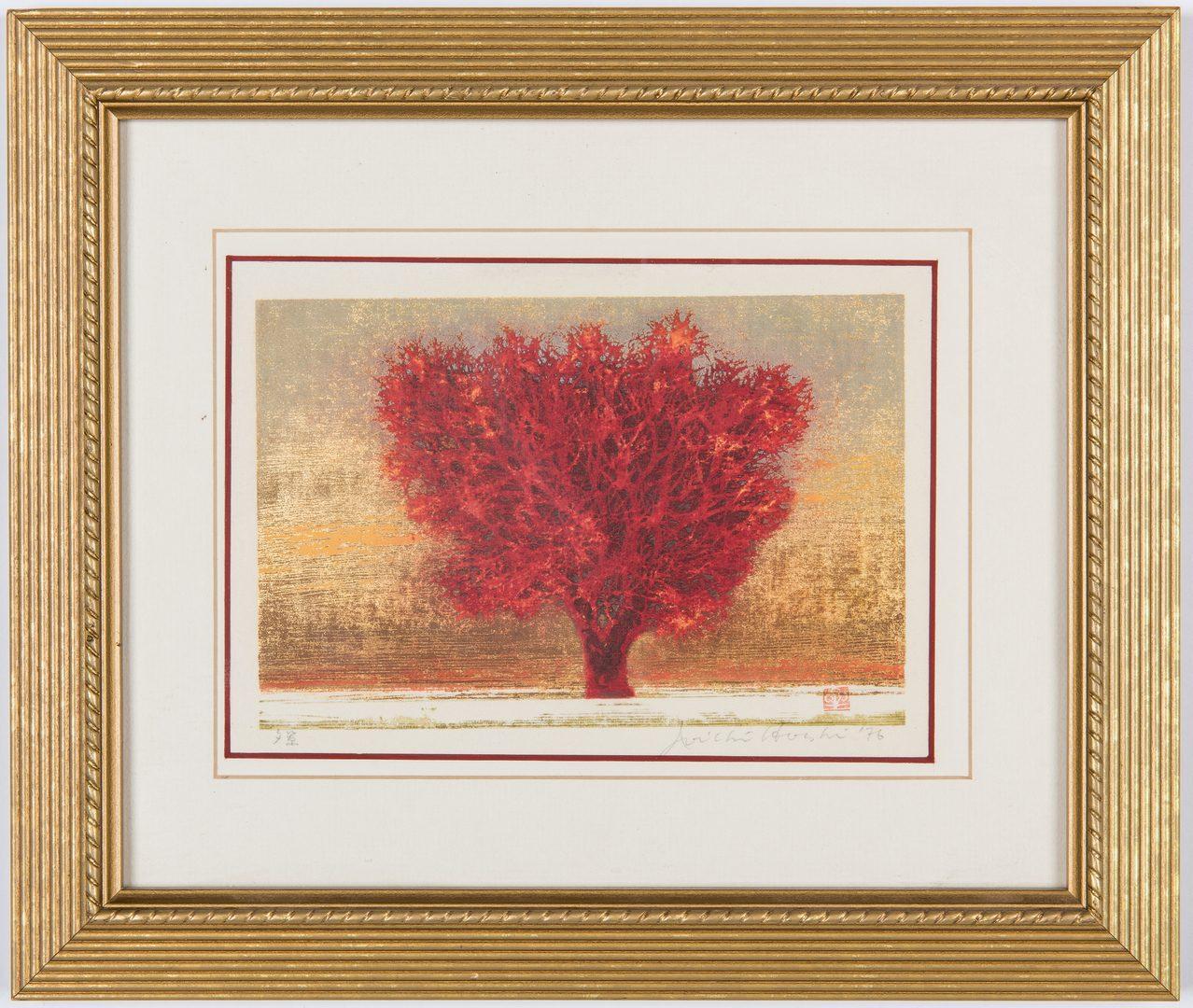 Lot 241: 2 Joichi Hoshi Colored Woodblocks of Trees