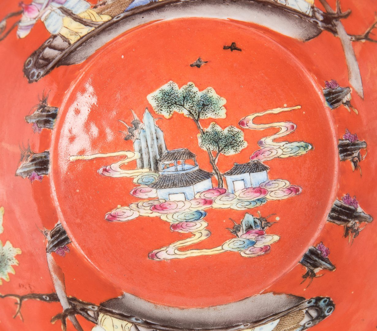 Lot 245: Chinese Porcelain Bowl, Red Ground with Figural Decoration
