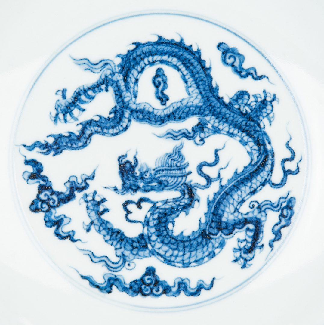Lot 249: Ming Style Blue & White Dragon Dish w/ yellow clobbered decoration
