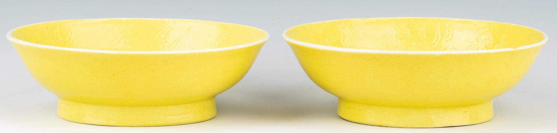 Lot 250: Pr. Imperial Guangxu Lemon Yellow Saucer Dishes