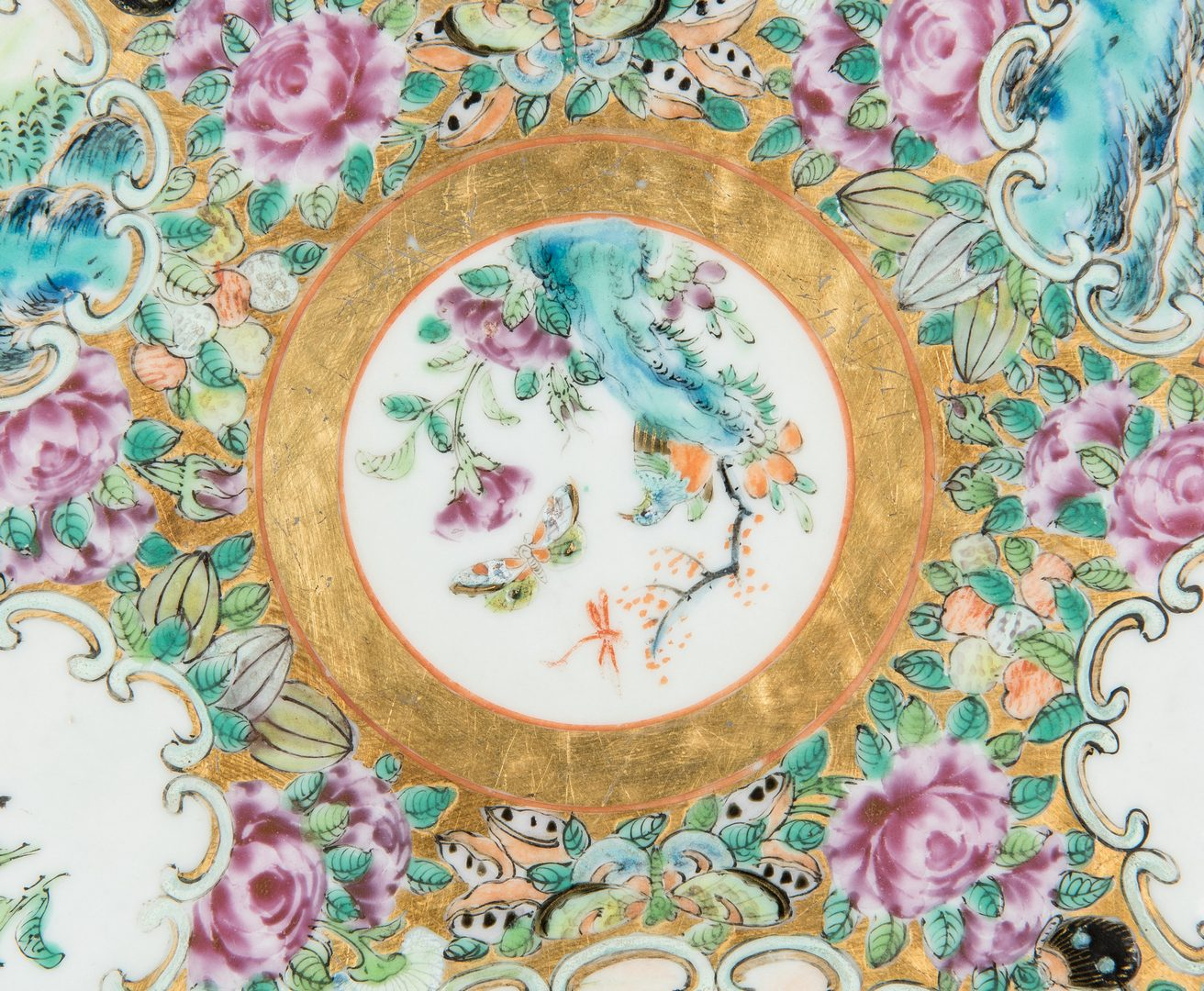 Lot 251: Rose Medallion Platter and Compote