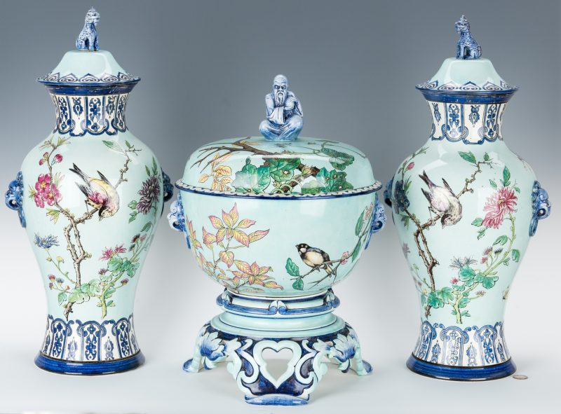 Lot 255: Gien, France Chinoiserie Faience, 3 Garniture Items