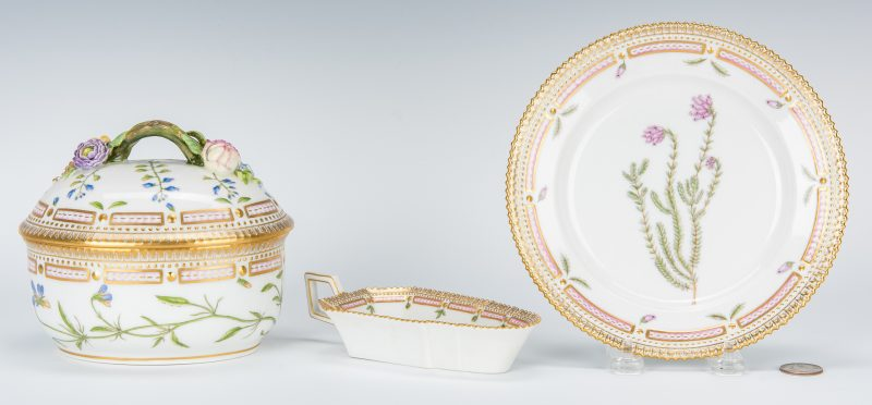 Lot 257: 3 Royal Copenhagen Denmark Flora Danica Porcelain Pieces