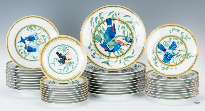 Lot 259: Hermes Paris Toucans Pattern Porcelain Dinnerware Set, 40 pcs.