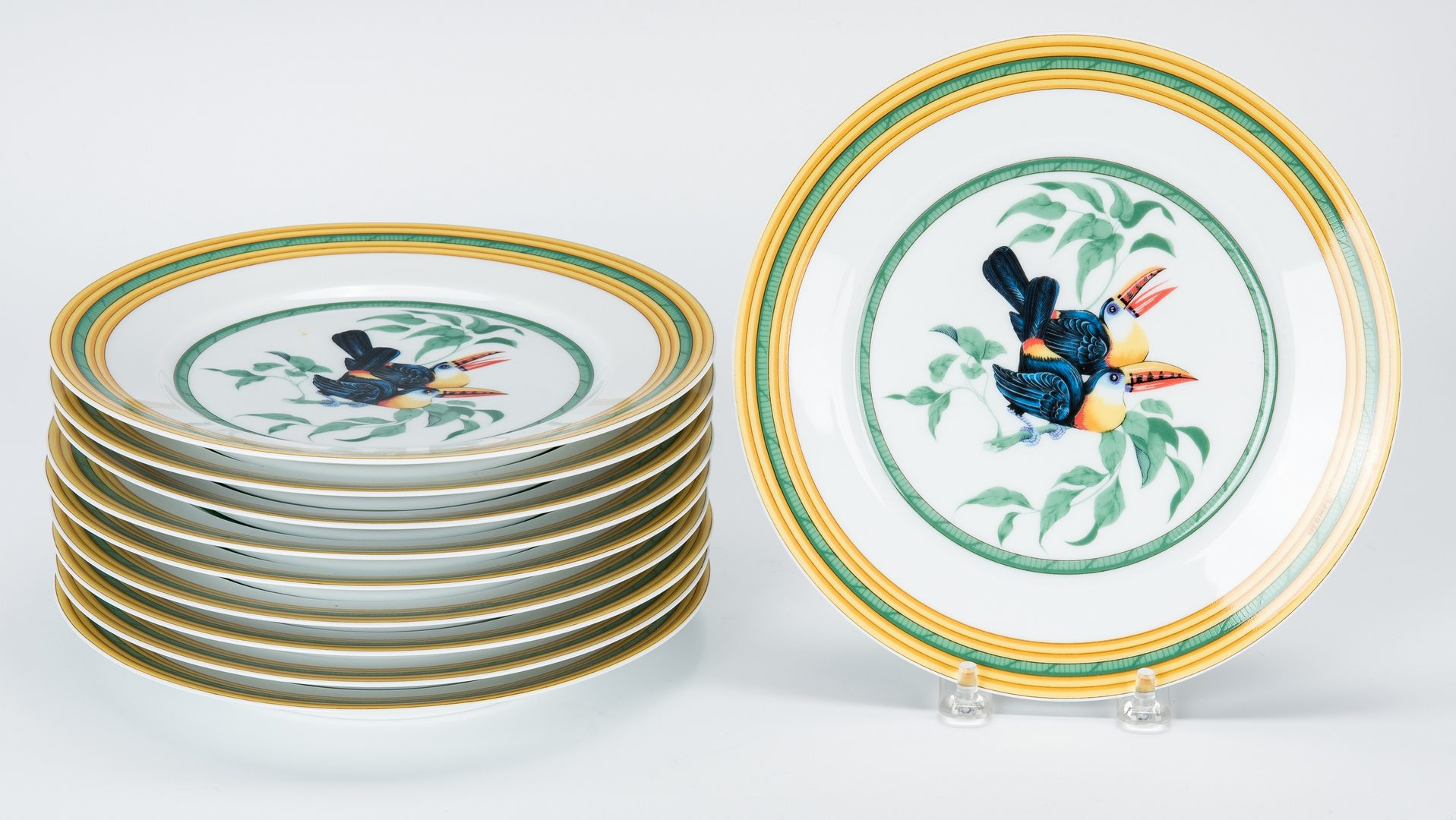Lot 259: Hermes Paris Toucans Pattern Porcelain Dinnerware Set, 40 pcs.