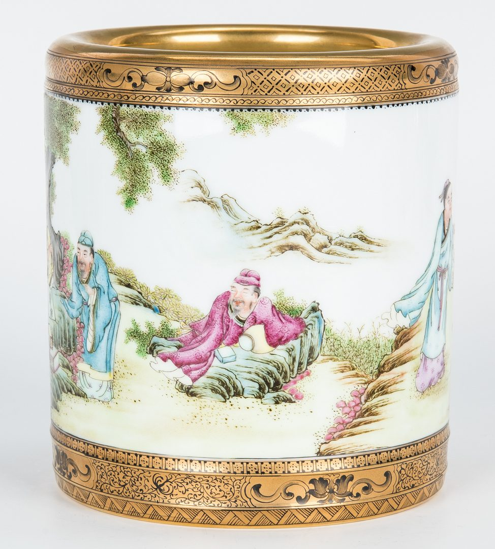 Lot 25: Chinese Republic Porcelain Brush Pot