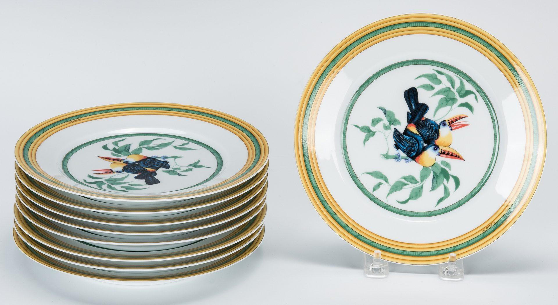 Lot 260: Hermes Paris Toucans Pattern Porcelain Dinnerware Set, 40 pcs.