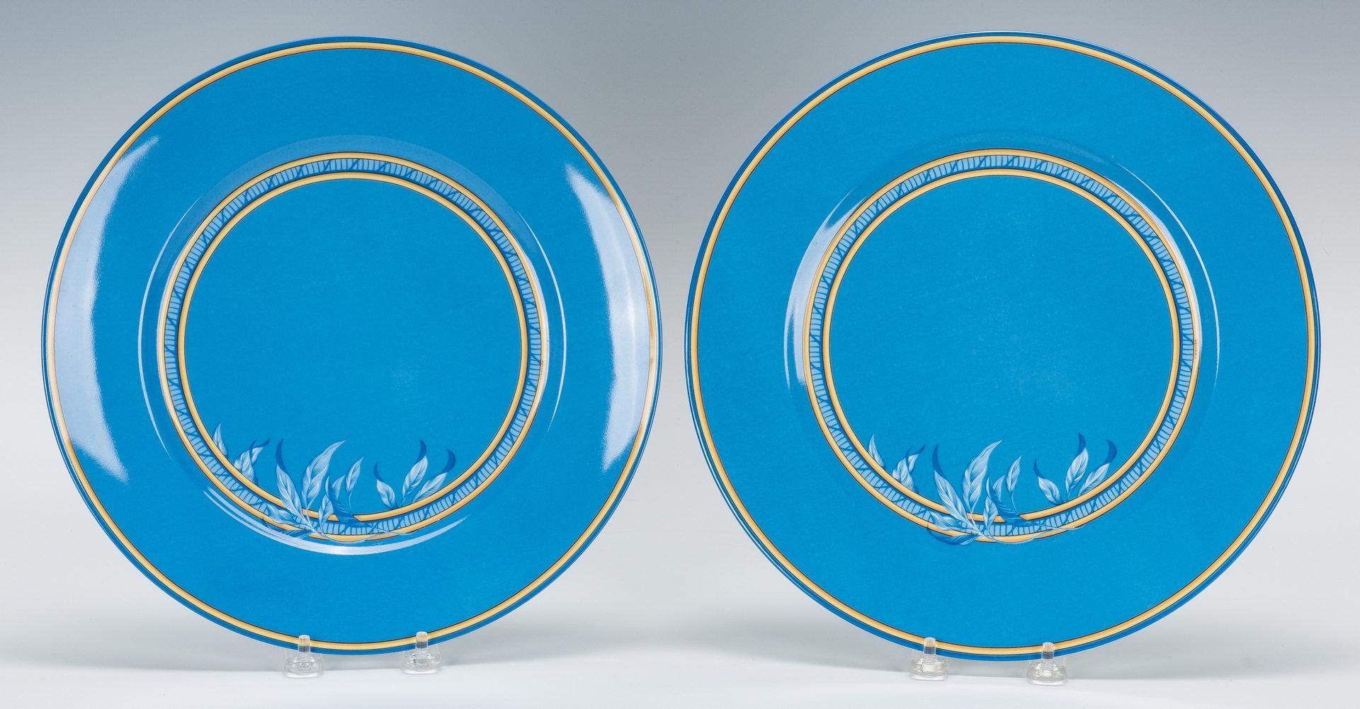 Lot 263: Hermes Paris Blue Toucans Pattern Chargers, 20 pcs.