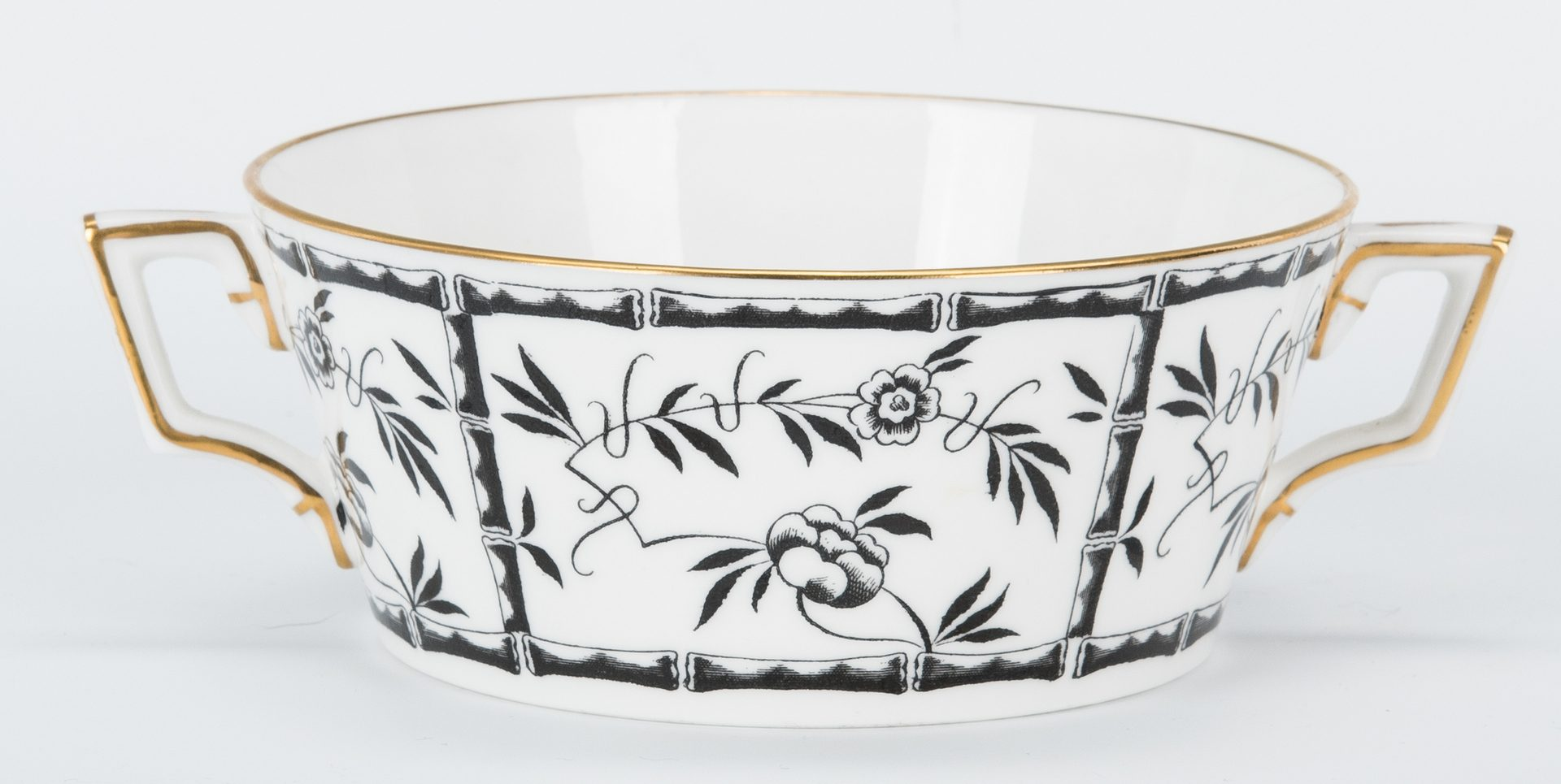 Lot 265: Tiffany retailed Black Bamboo Porcelain by Hammersley, 57 pcs.