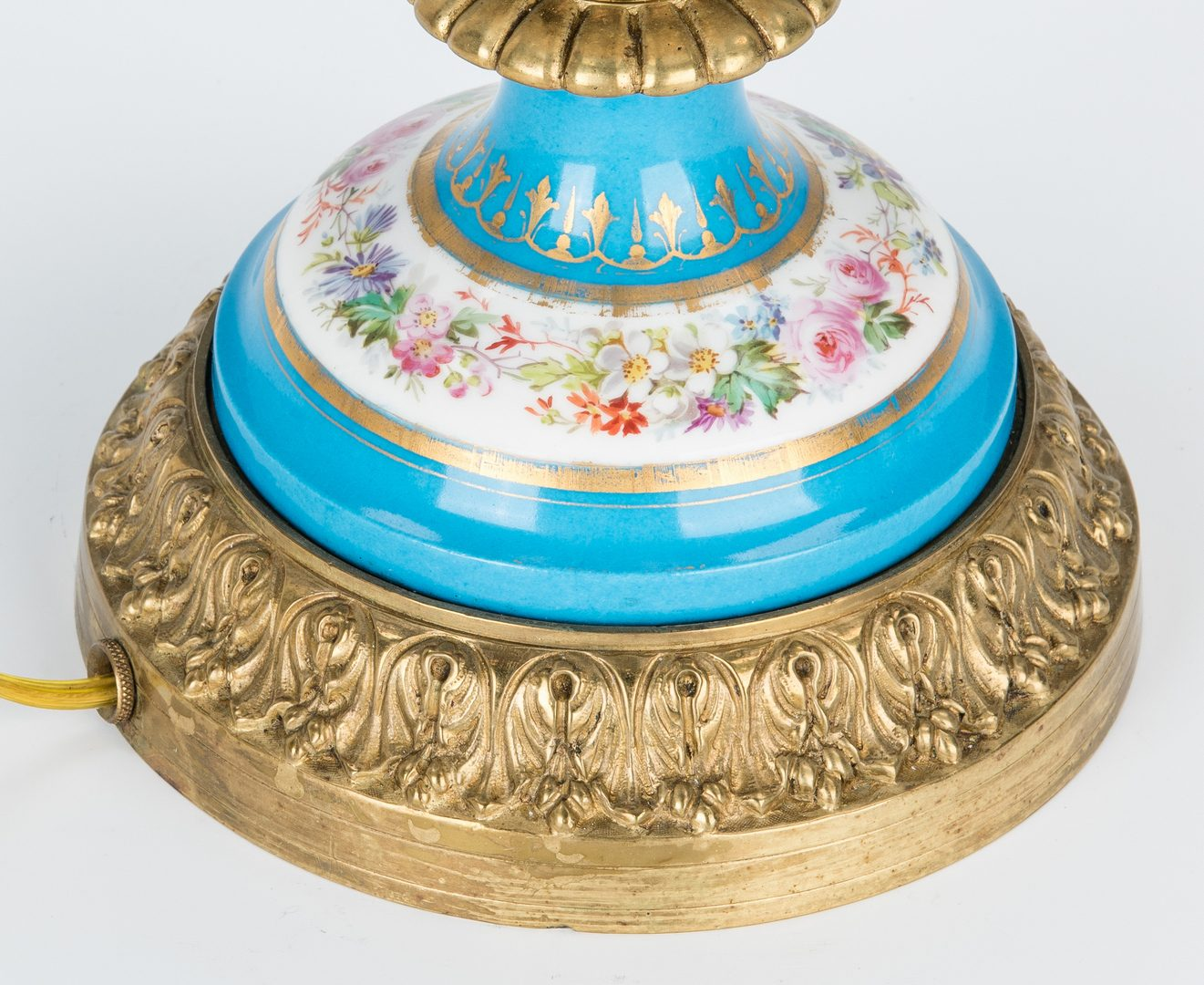 Lot 270: Sevres Style Gilt Bronze Mounted Lamp