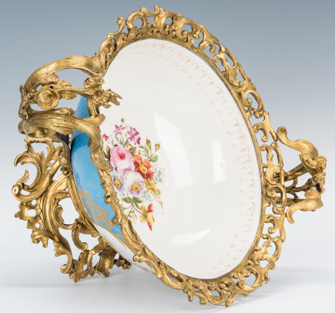 Lot 271: Large Sevres Style Porcelain Bowl w/ Gilt Bronze Mounts