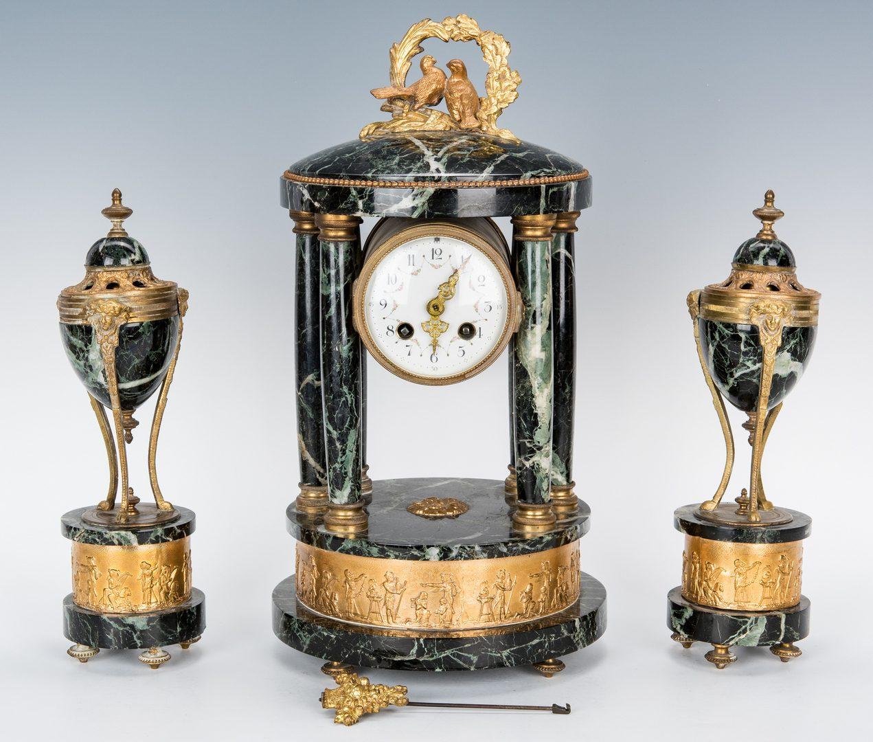 Lot 272: 3-piece French Marble Clock Garniture Set