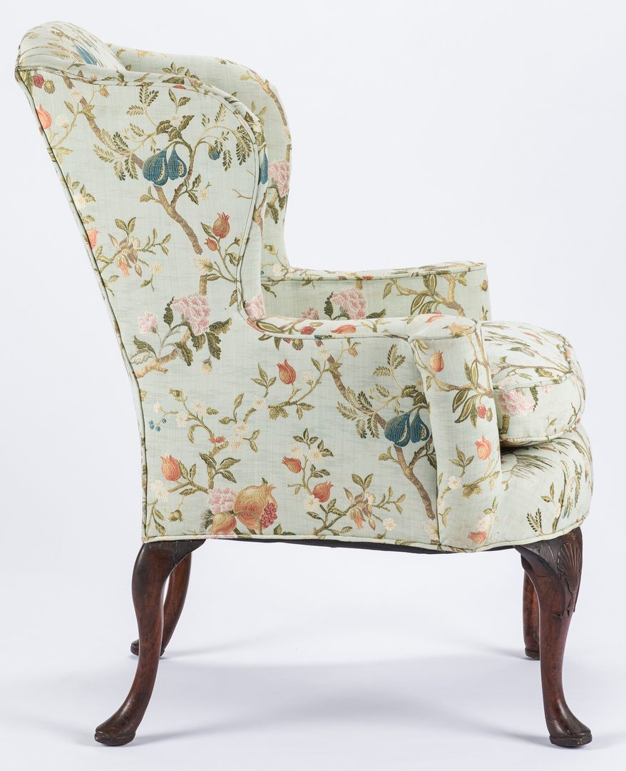 Lot 278: English Queen Anne Style Carved Wingback Chair