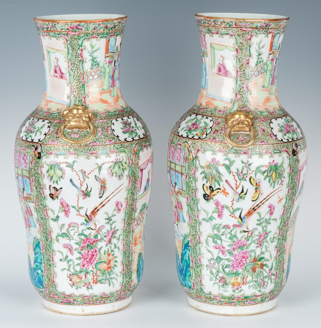 Lot 27: Pr Chinese Export Rose Medallion Vases