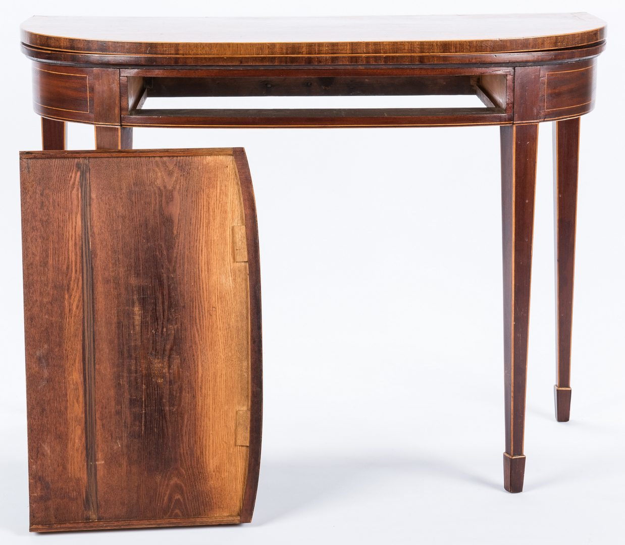 Lot 280: George III Inlaid Demilune Games Table