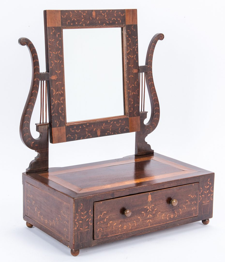 Lot 281: Inlaid Dressing Mirror