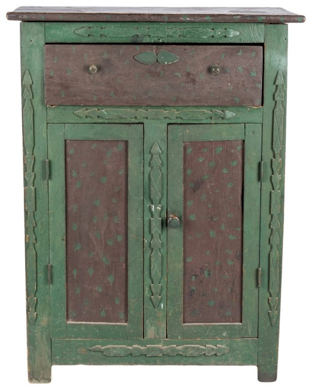 Lot 283: VA Paint Decorated Folk Art Cupboard