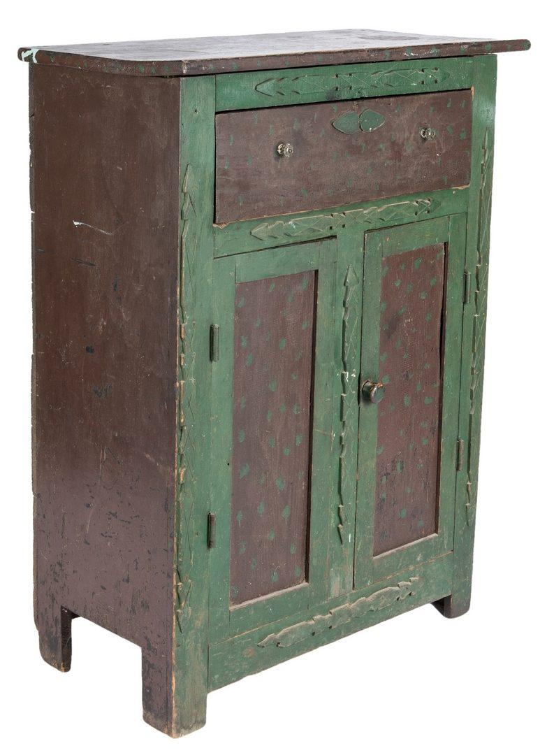 Lot 283: VA Paint Decorated Folk Art Cupboard