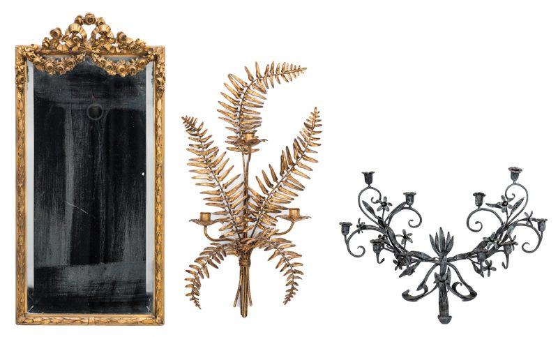 Lot 293: Decorative Mirror, Sconce & Candeabra