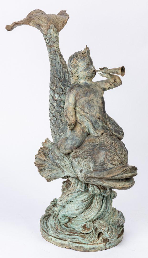 Lot 295: Figural Cherub & Fish Garden Fountain