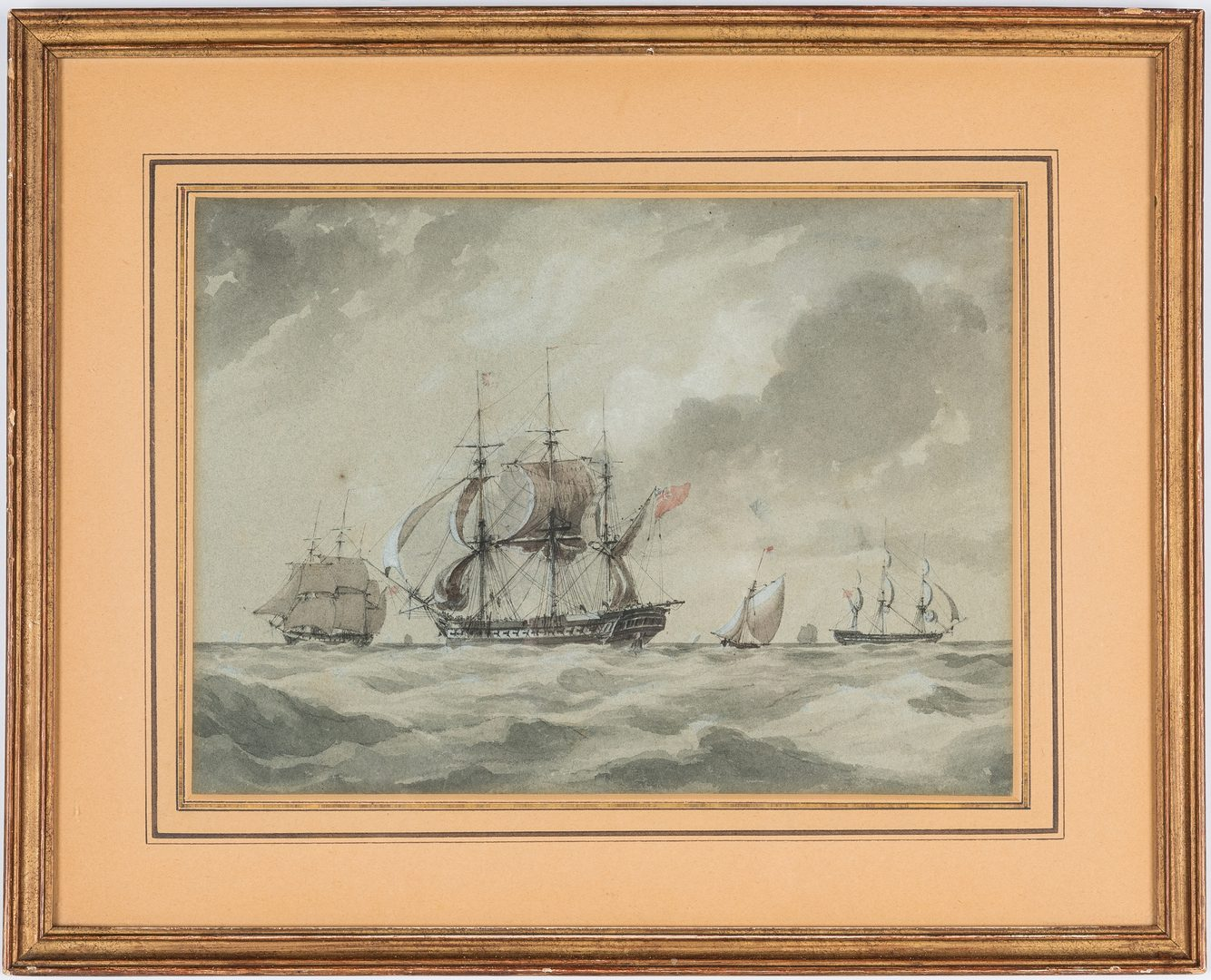 Lot 297: English School Watercolor of Masted Ships & Mirror w/ Etched Ship