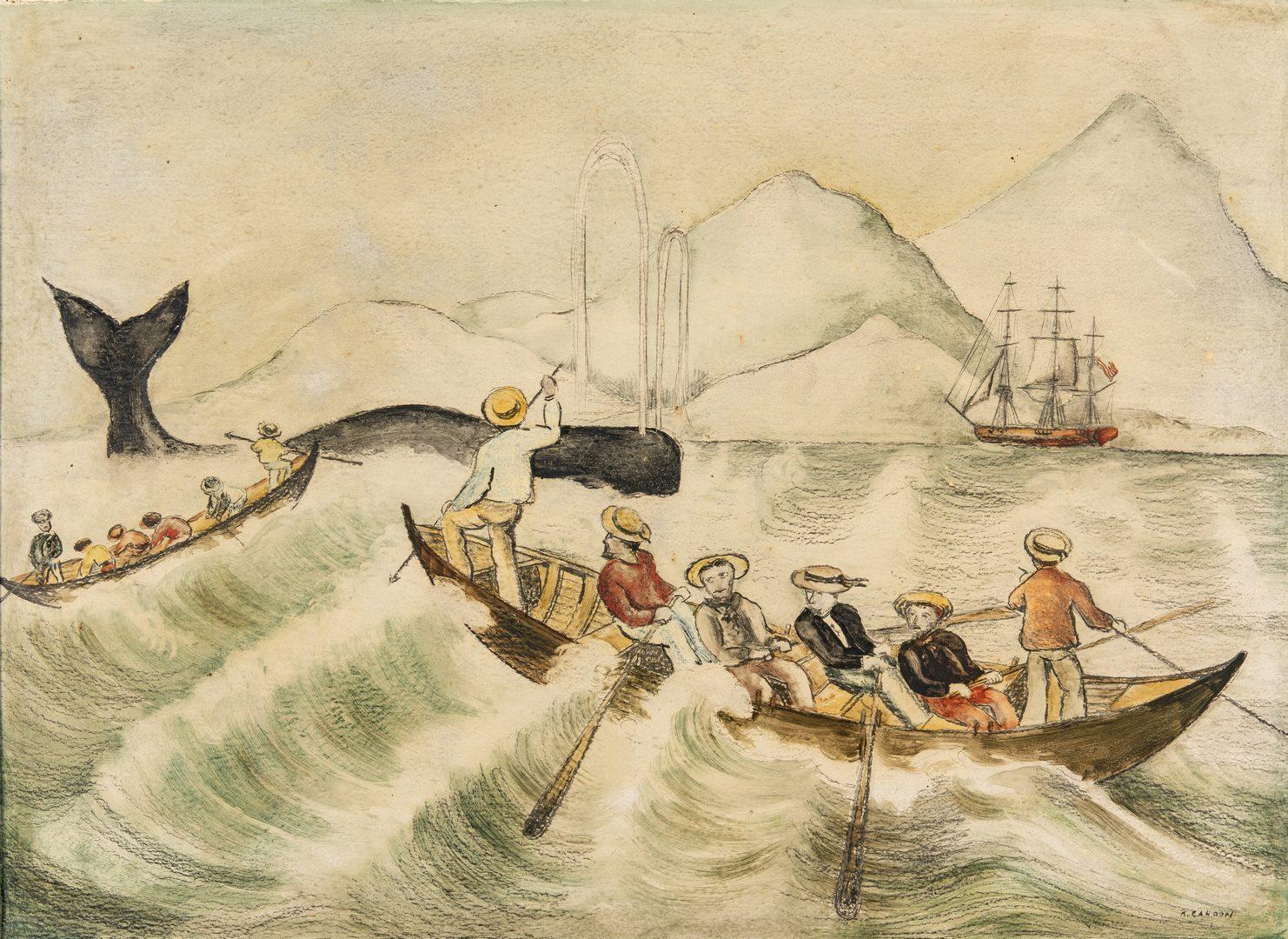 Lot 300: Attr. Ralph Cahoon, Folk Art Sailor Painting