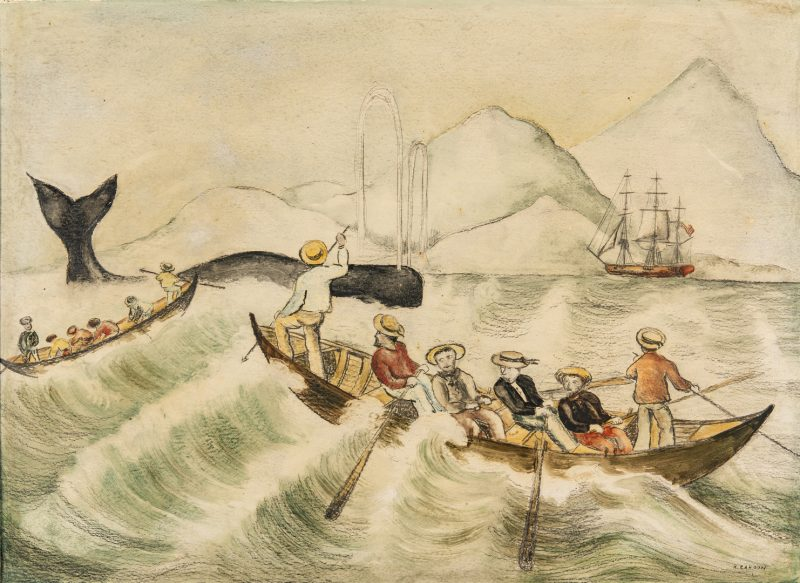 Lot 300: Attr. Ralph Cahoon, Folk Art Sailor Painting