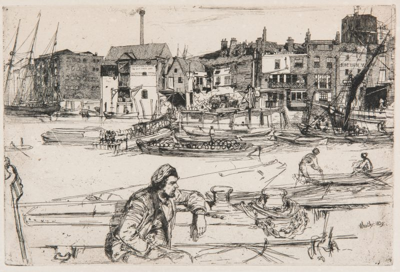 Lot 302: James Whistler Etching, Black Lion Wharf