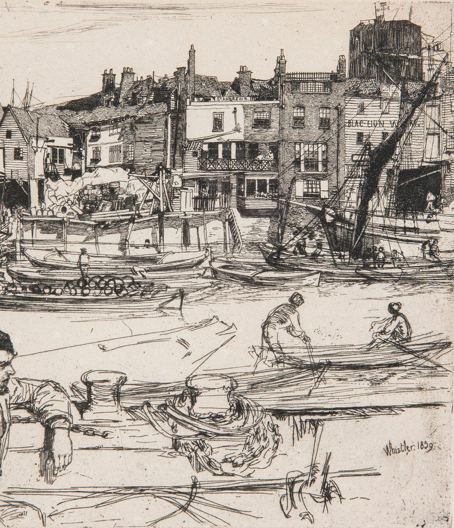 Lot 302: James Whistler Etching, Black Lion Wharf