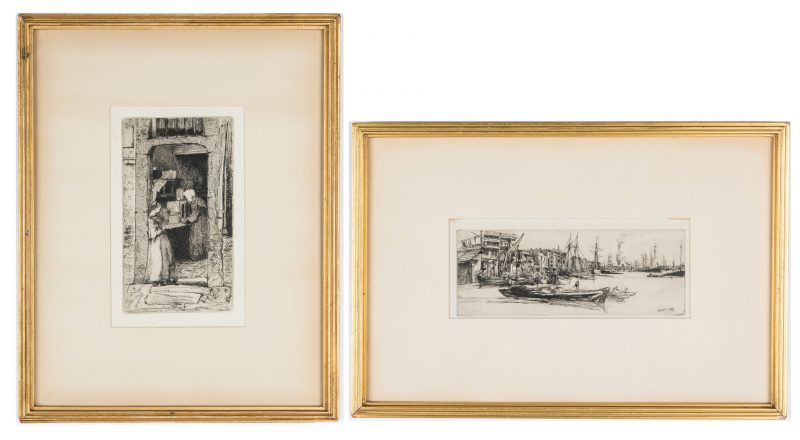 Lot 303: 2 Whistler Etchings, Thames Scene & Mustard Seller