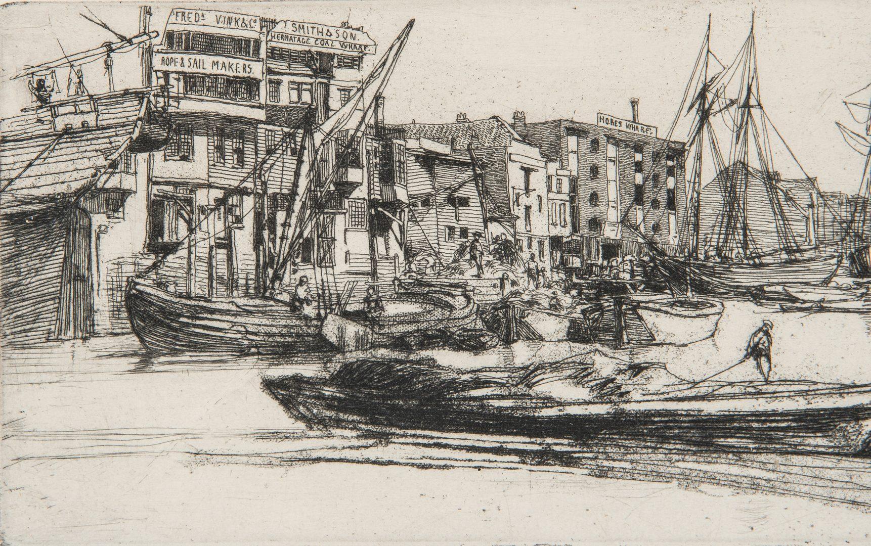 Lot 303: 2 Whistler Etchings, Thames Scene & Mustard Seller