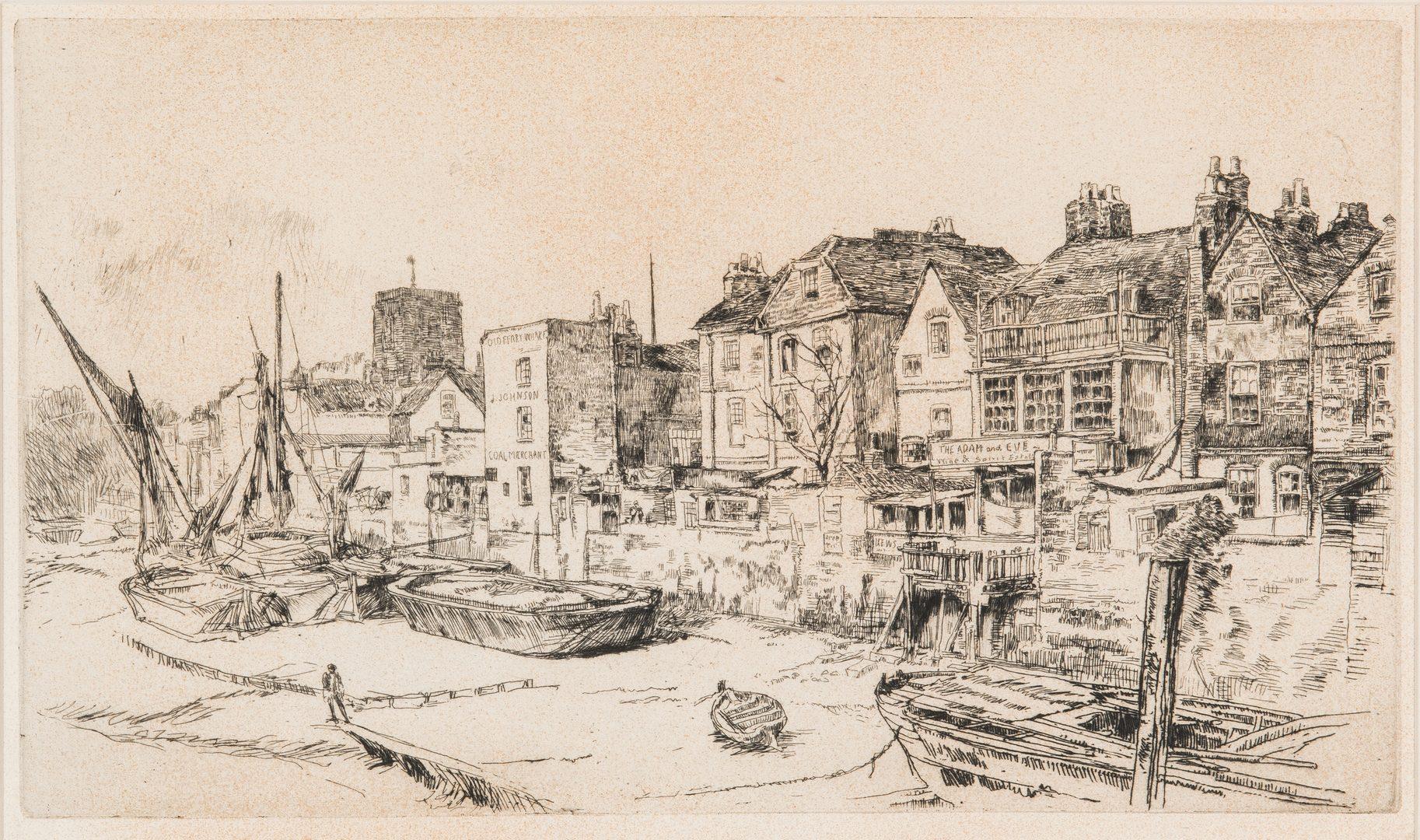 Lot 305: James Whistler Etching, Adam & Eve Tavern