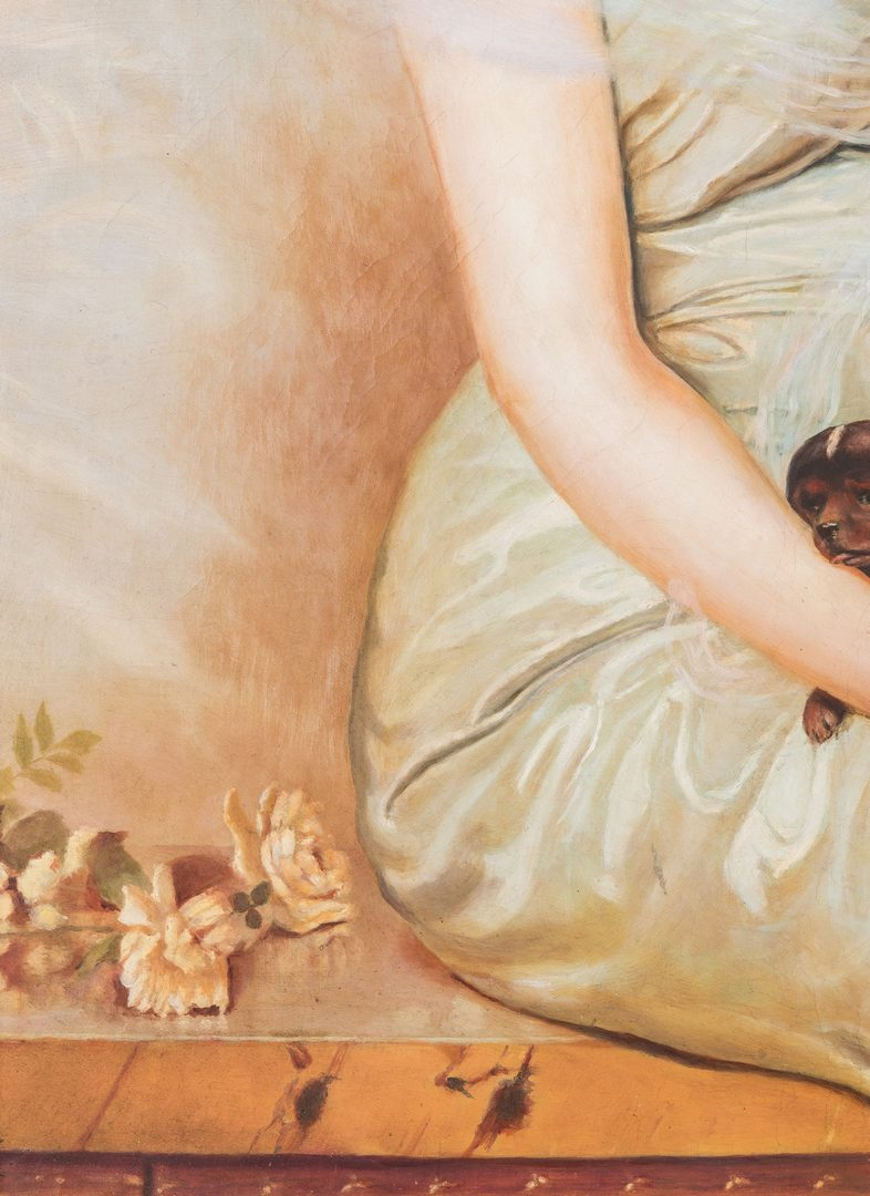 Lot 308: Oil painting signed V. Corcos, The Wounded Puppy