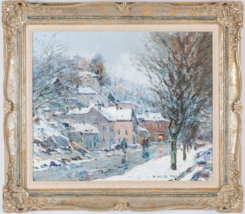 Lot 311: Malva O/C, Winter Landscape Painting