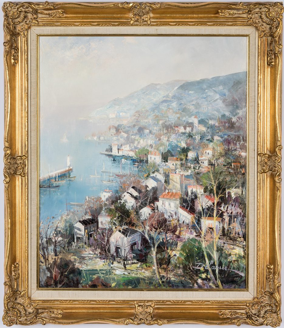 Lot 312: Lucien Delarue Oil, Coastal Town