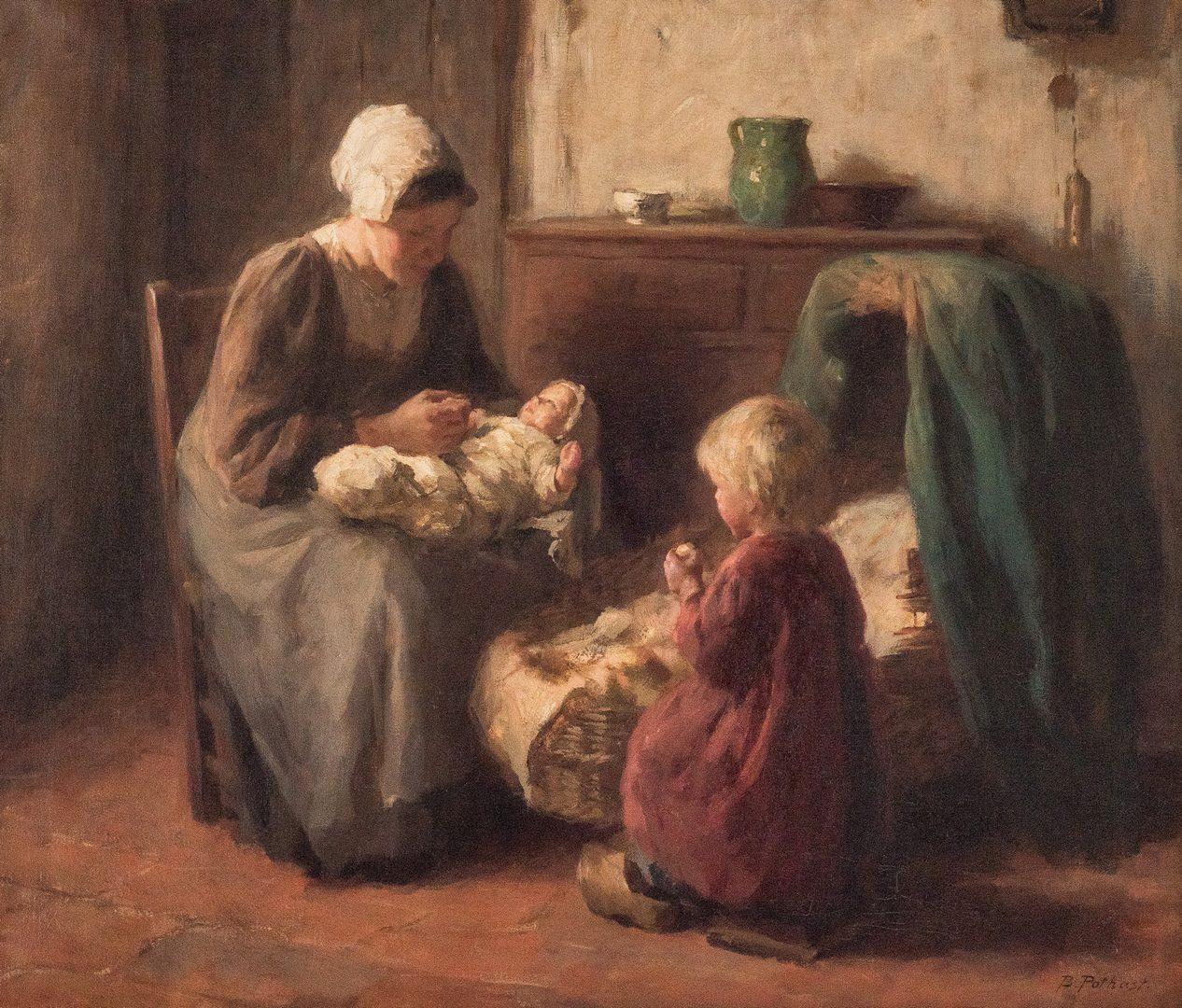 Lot 314: Bernard (Bernhard) Pothast O/C, The Fond Mother