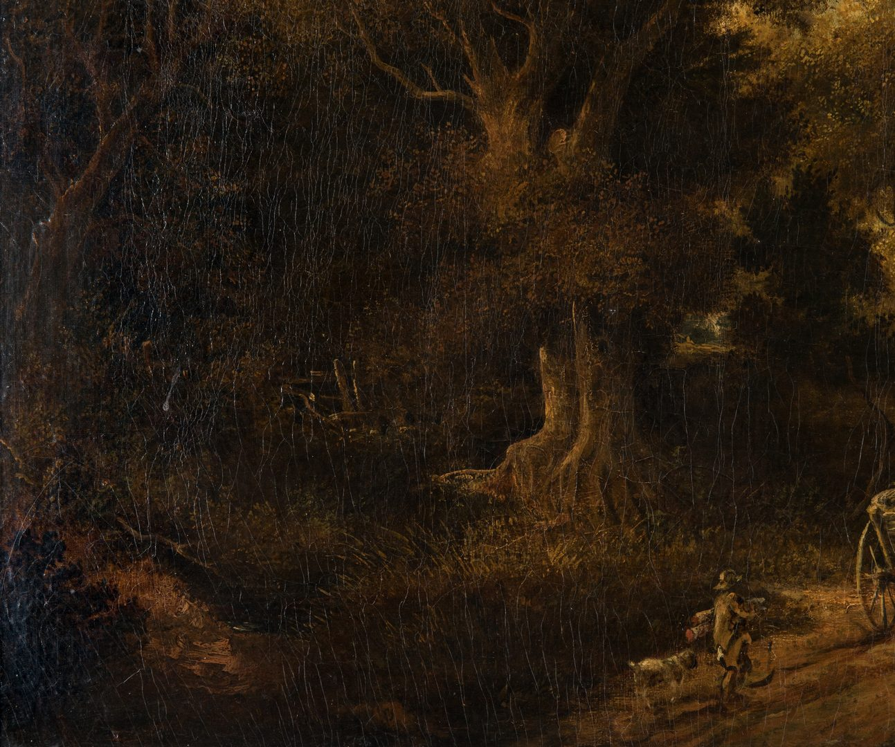 Lot 315: George Vincent 19th C. Landscape with figures and cart