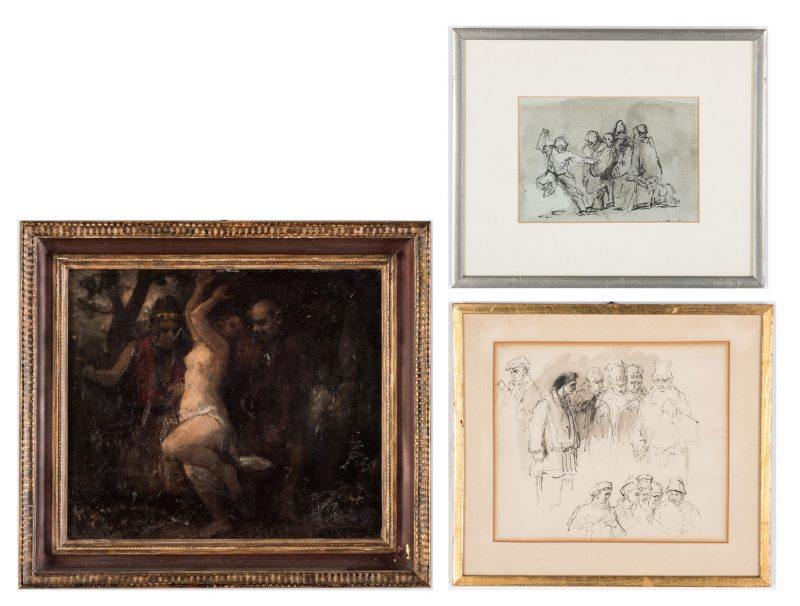 Lot 319: 3 Works Attr. to Thomas Clark, incl. Nymph and Shepherds Painting