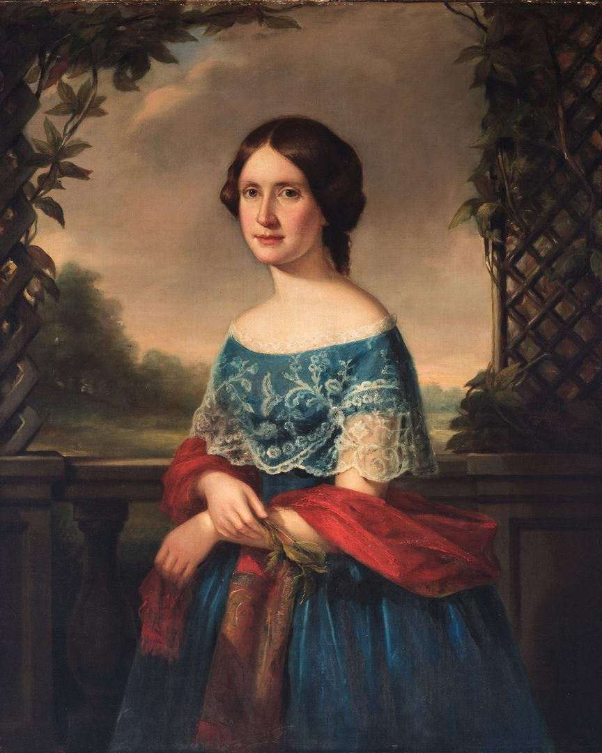 Lot 320: Moses Wight O/C Portrait of a Young Lady