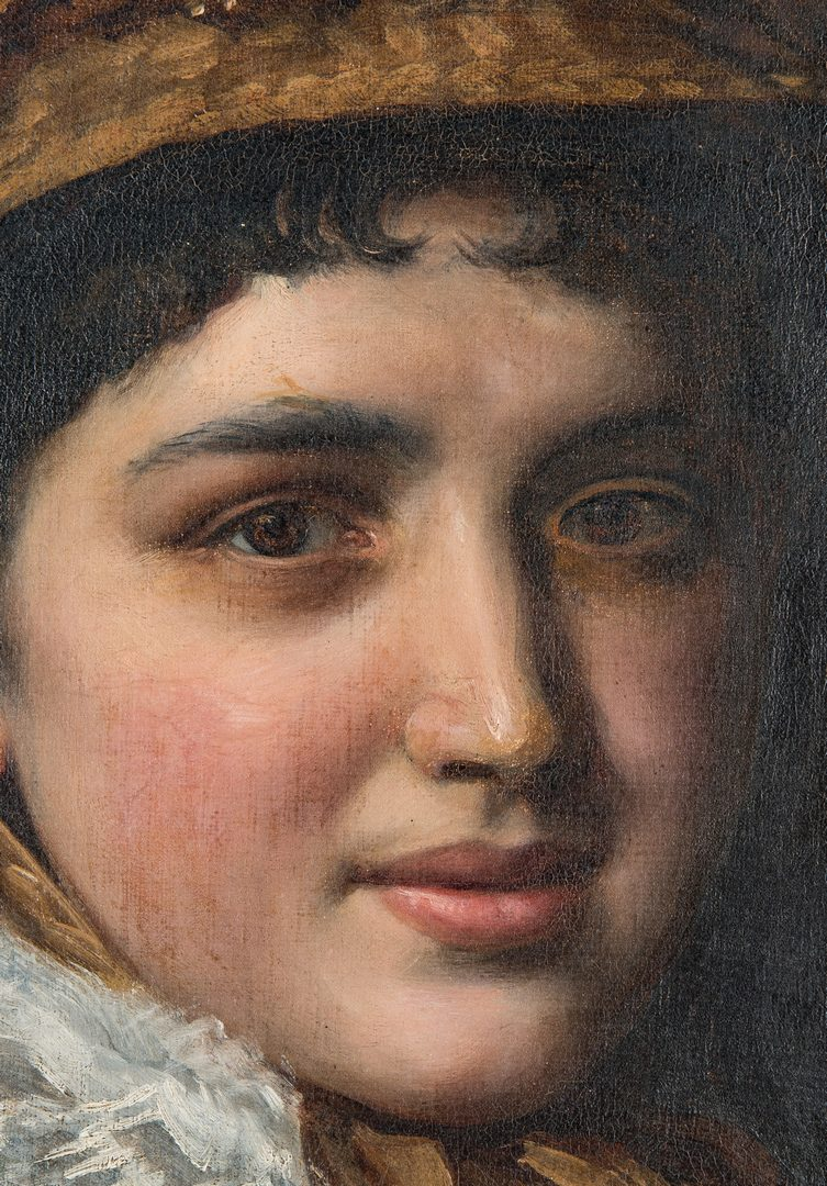 Lot 321: 19th C. Portrait of a Lady with a Watch