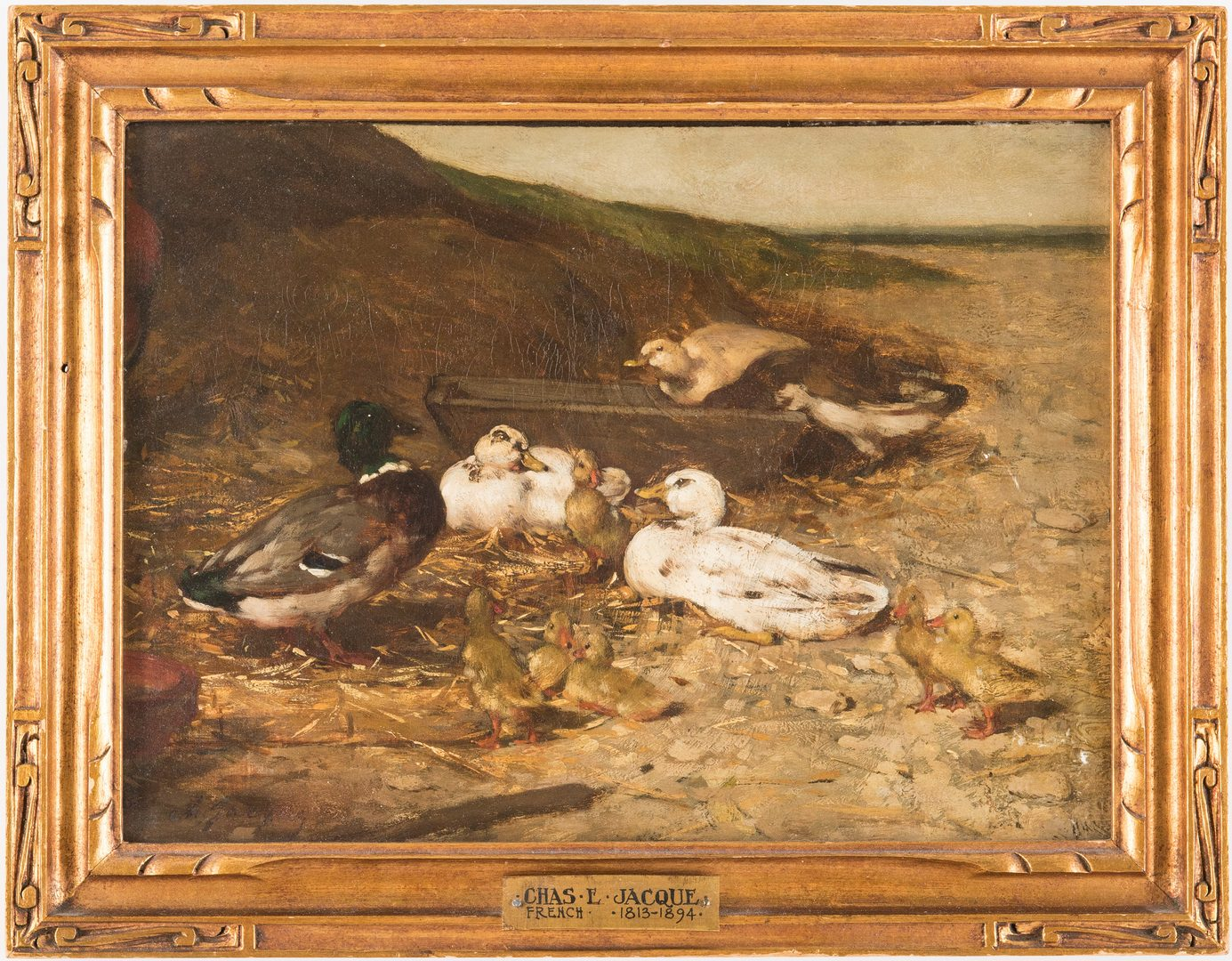 Lot 322: Charles E. Jacque O/C, Ducks on a Seashore
