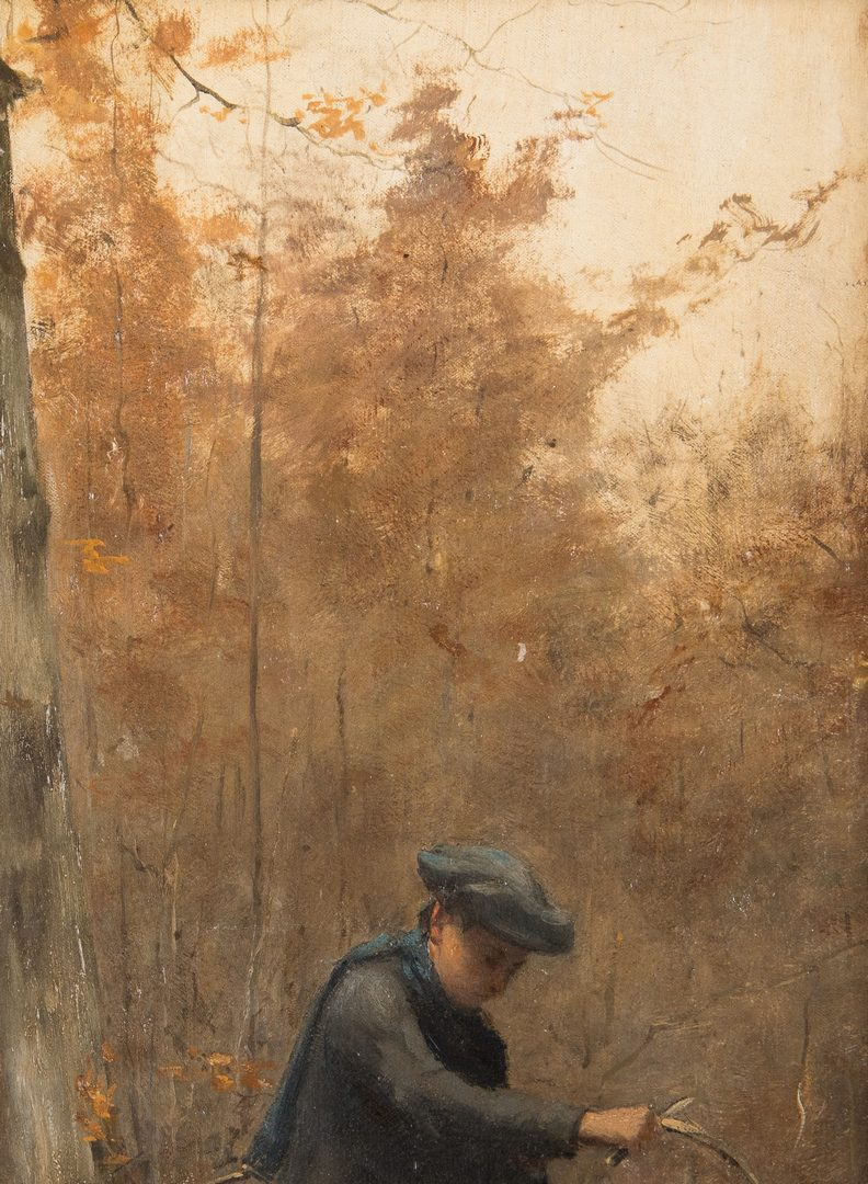 Lot 324: 19th C. Landscape, Children on a Woodland Path