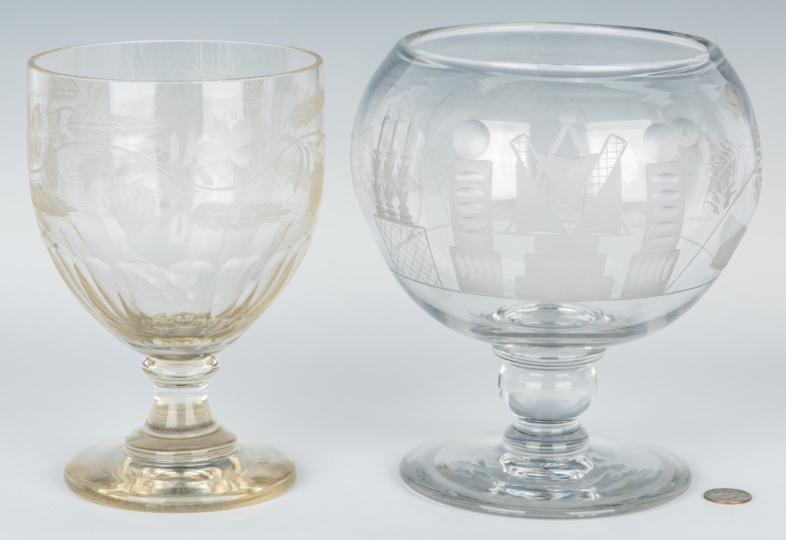 Lot 328: English Glass Punch Bowl & Pressed Glass Compote