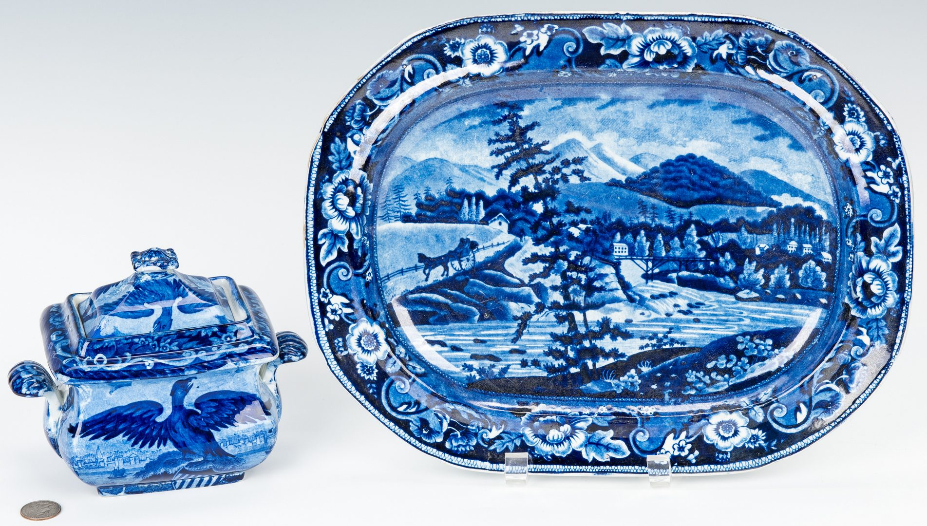 Lot 329: 2 Historical Staffordshire Pieces, Sugar Bowl & Platter